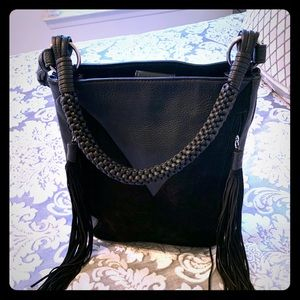 Black leather and suede handbag